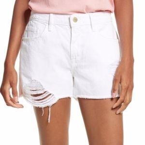New Frame Denim Le Grand Garçon White Shorts, 30